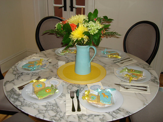 intimate place setting with Lil' Sugar's Wishes for Baby